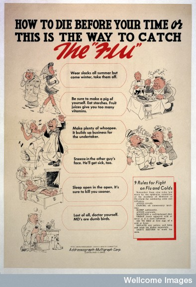 How to catch flu (Wellcome Images)
