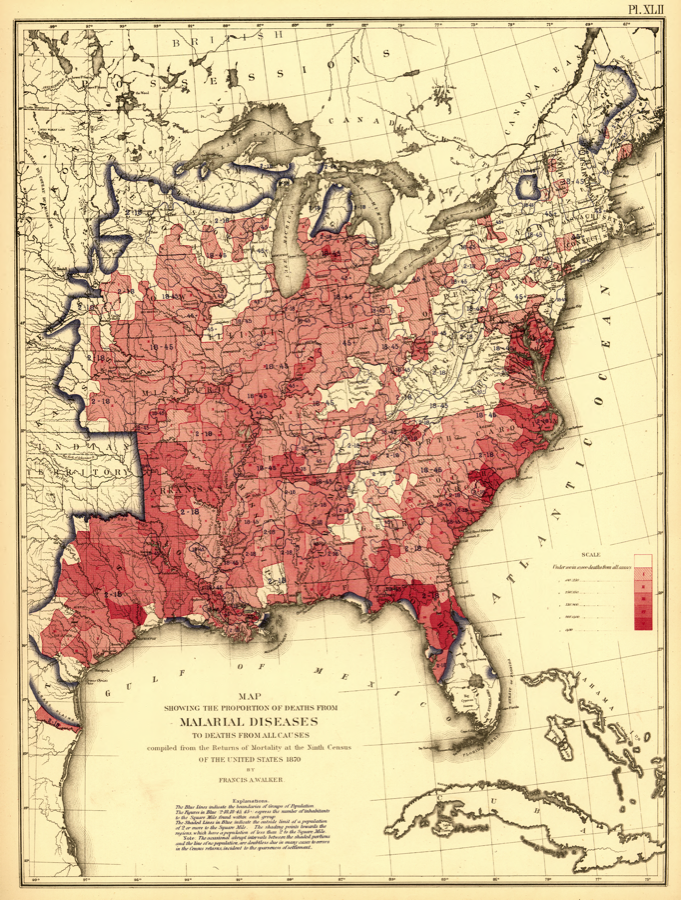 Malaria in the USA, 1870