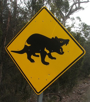 Tasmanian Devil road sign