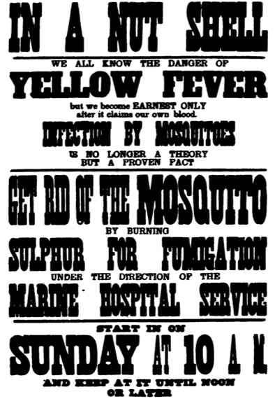 Yellow fever poster, New Orleans, 1905