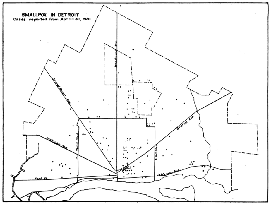 Smallpox in Detroit - map, 1920